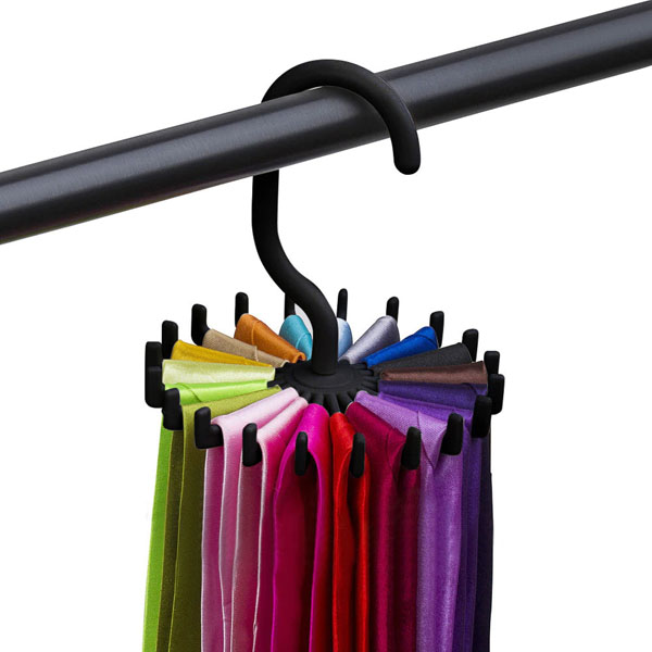 Solid silk necktie hanging rack that fits in the closet.